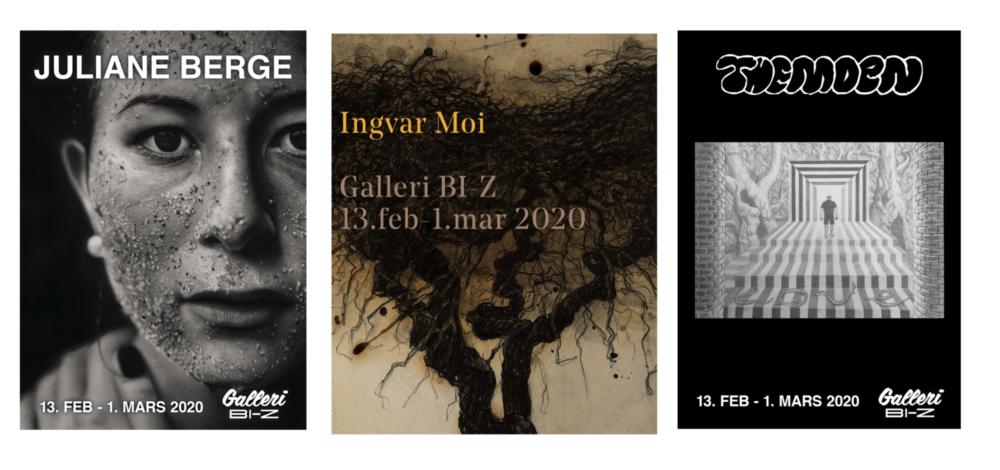 3 x Tegning – Juliane Berge, ingvar moi & themoen